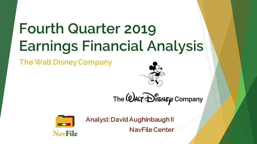 An image of The Walt Disney Company Financial Analysis 2019 Q4 Slide