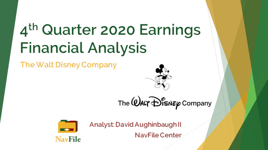 The Walt Disney Company Financial Analysis Front Slide 2020 Q4