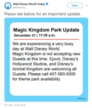 A photo a Twitter status message about the 2018 2019 New Year's Eve Magic kingdom Closure