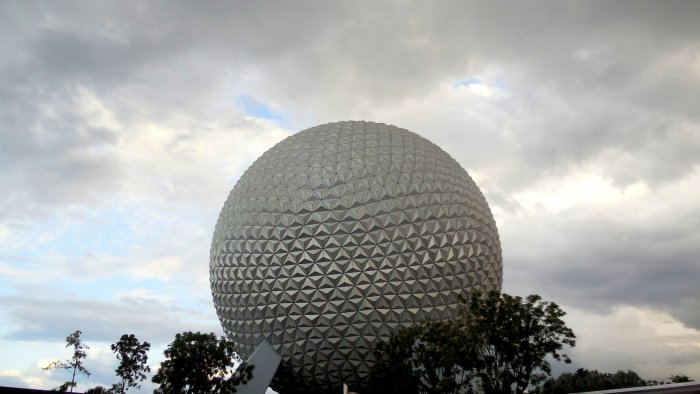 A photo of Epcot Spaceship Earth on a Cloudy Day