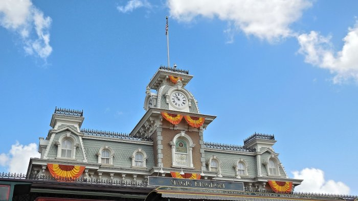 A photo of the Magic Kingdom Train Station from the front in Walt Disney World