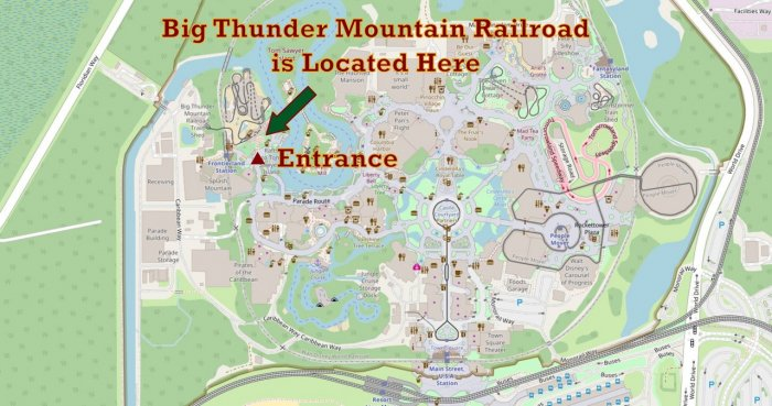 Big Thunder Mountain Railroad Map and Location at Walt Disney World Florida