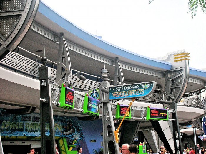 A photo of the Buzz Lightyear's Space Ranger Spin Front Entrance Area
