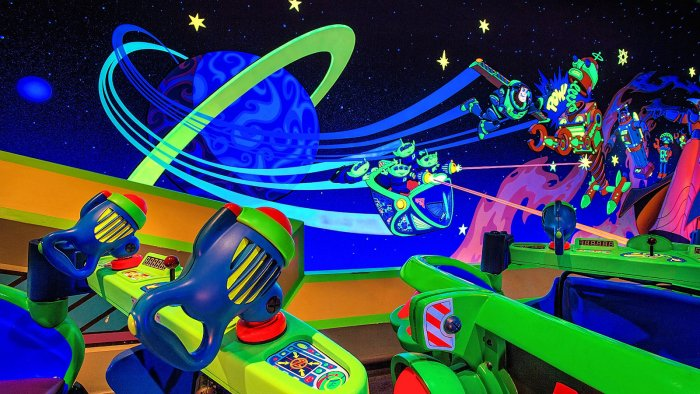 A photo of the Buzz Lightyear's Space Ranger Spin Ride Vehicle
