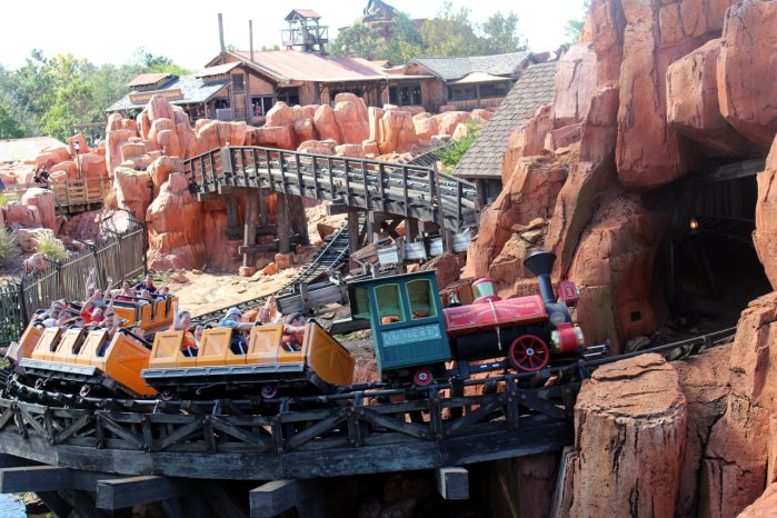 Photo of the Big Thunder Mountain Railroad Front Seat and Back Seat with the Train at Walt Disney World