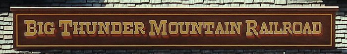 A Photo of The Big Thunder Mountain Railroad Logo on a Sign at Walt Disney World Resort