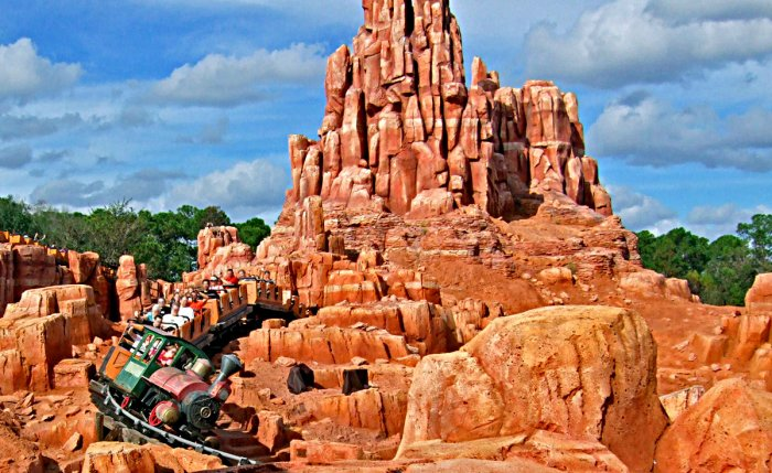 A Photo of Big Thunder Mountain Railroad Speeding Around a Corner At Walt Disney World