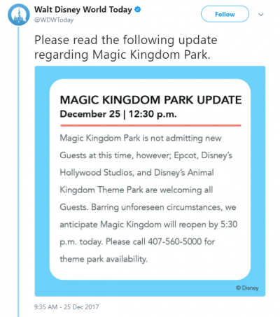 Walt Disney World Magic Kingdom Capacity Closure Christmas 2017 Tweet