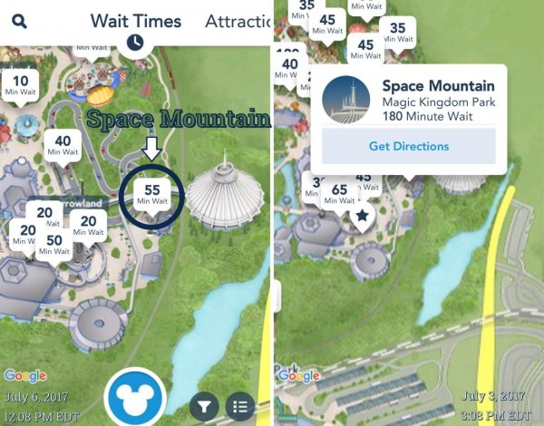 Photo of the Space Mountain Wait Time on the Android App
