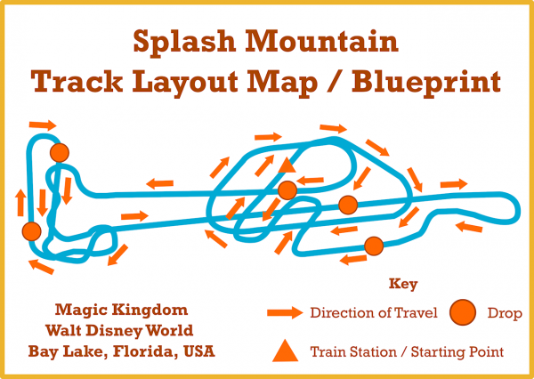 An image of the Splash Mountain Blueprint or Track Layout Walt Disney World
