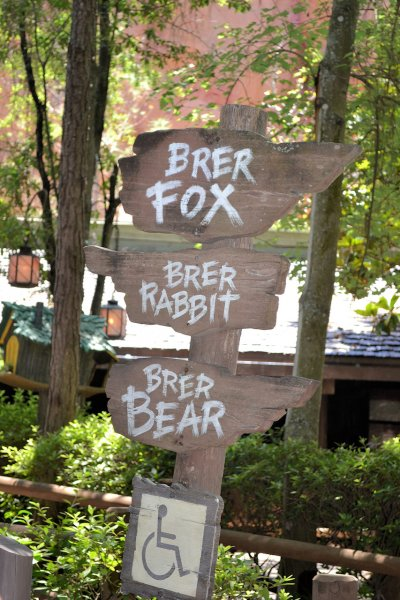 Multiple signs for Splash Mountain showing where Brer Fox, Rabbitn and Bear are located