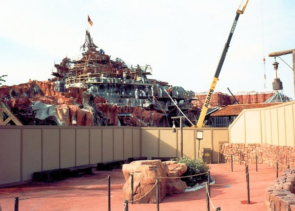 A photo of splash mountain construction in 1991 from the side at Walt Disney World