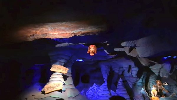 A photo of the splash mountain FSU gopher that pops out from the top of the ceiling