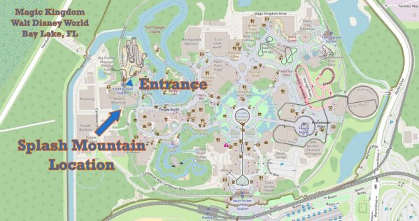Splash Mountain Map and Location Image in Walt Disney World's Magic Kingdom