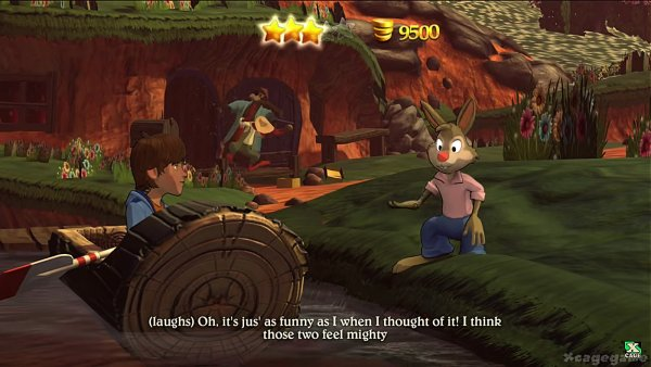 A screen capture of the Splash Mountain video game with Brer Rabbit, Fox, and Bear