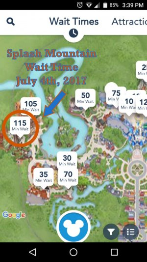 A photo of the Splash Mountain Wait Time on July 4th 2017 from the MyDisneyExperience App