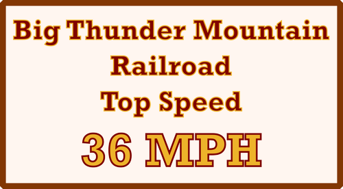 Big Thunder Mountain Railroad Top Speed Sign