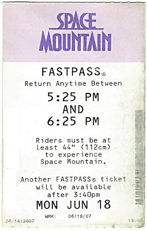 Photo of a Space Mountain FastPass Ticket Walt Disney World Resort