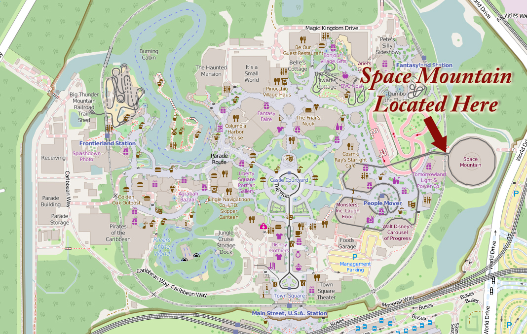 Space Mountain Map - Location Walt Disney World | NavFile